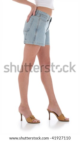 Side of Young Woman with Nice Legs in Jean Shorts - stock photo