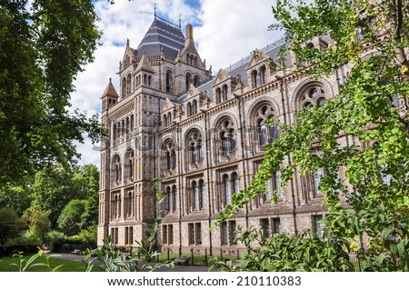 Side part of Natural History Museum building in London, United Kingdom - stock photo
