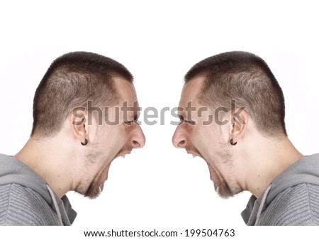 Side portrait of a frustration man - stock photo