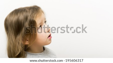 Side portrait of beautiful little girl - stock photo