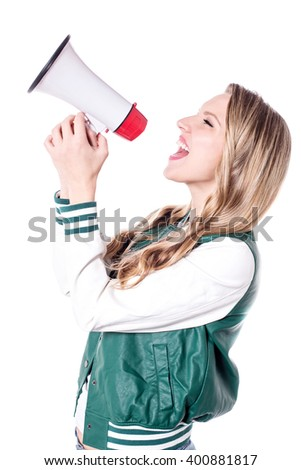 Side pose of enthusiastic woman making an announcement - stock photo