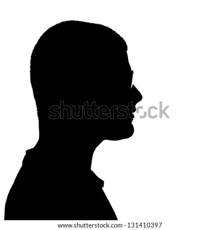Side profile illustration in black of a young man wearing eyeglasses isolated over a white background. - stock photo