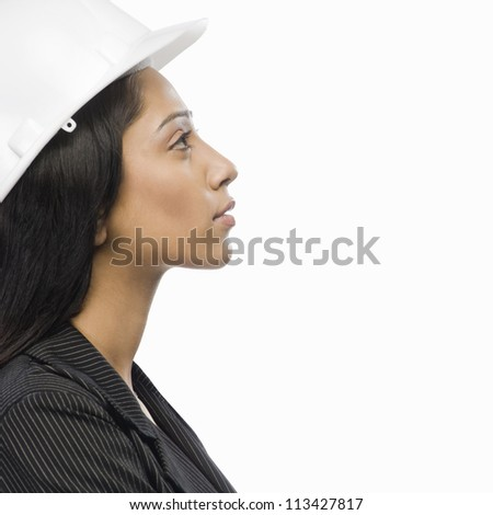 Side profile of a female architect - stock photo