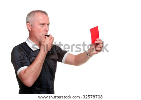 Side profile of a referee showing the red card, isolated on a white background. - stock photo