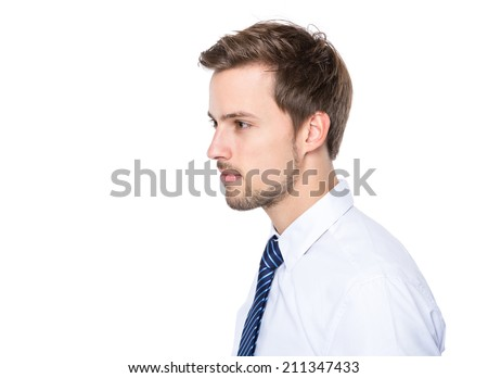 Side profile of businessman - stock photo