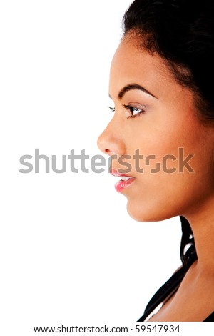 Side profile view of beautiful woman face with clear tanned skin and natural makeup, isolated. - stock photo