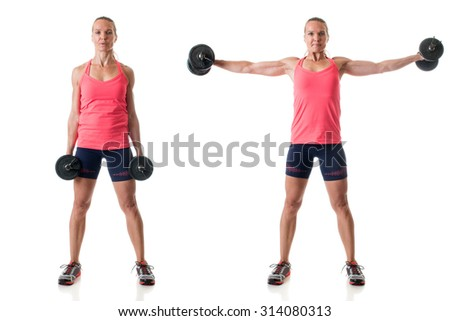 Side raise exercise. Studio shot over white. - stock photo