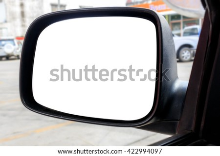 side rear-view mirror on a car  [blur and select focus background] - stock photo