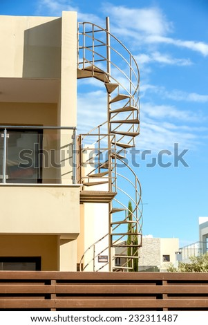 Side stairs outside the building structure for dangerous case - stock photo