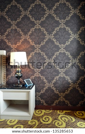 Side table in the bedroom - stock photo