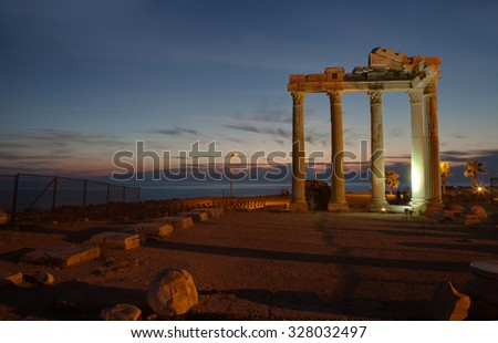 Side,Turkey -  Ruins of The Temple of Apollo at ancient Mediterranean coast city 28 SEP 201 - stock photo