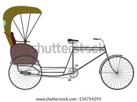 Side view at the silhouette of an empty bicycle rickshaw. - stock photo