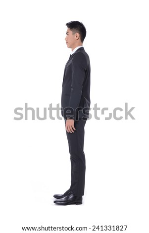 Side view business young man of Asian, full length portrait isolated  - stock photo