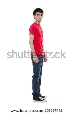 Side view casual young man full body, - stock photo