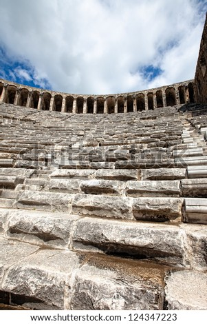 Side view looking up of the theater at Aspendos Turkey - stock photo