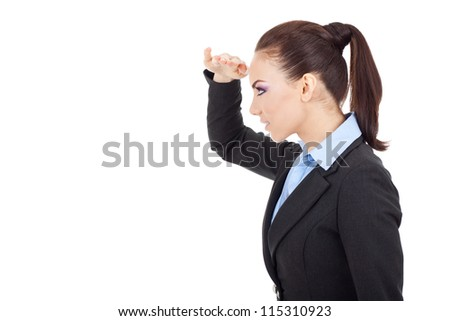 side view of a beautiful young business woman looking far away, on white background - stock photo