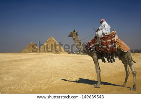 Side view of a Bedouin on camel against the pyramids in Egypt - stock photo