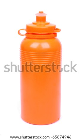 Side view of a closed orange sport plastic water bottle. Image isolated on white studio background. - stock photo