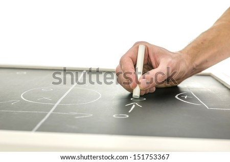 Side view of a hand writing a soccer game strategy on a blackboard. Over white background. - stock photo