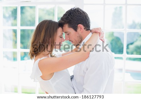 Side view of a loving young couple with arms around at home - stock photo