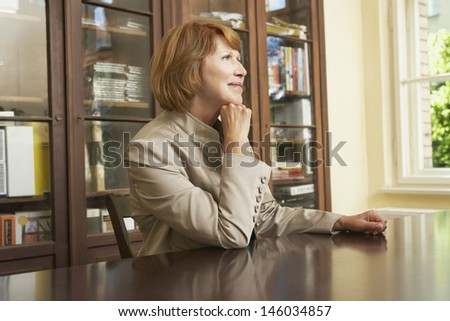 Side view of a middle aged woman sitting at study table in living room - stock photo