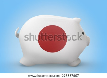 Side view of a piggy bank with the flag design of Japan.(series) - stock photo