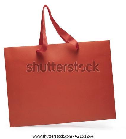 Side view of a red shopping bag in motion. Clipping path - stock photo