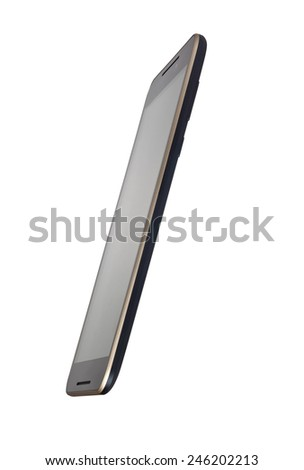 Side view of a touchscreen smartphone isolated on white background  - stock photo