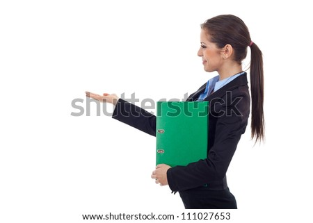 Side view of a young business woman holding a portfolio and gesturing with her right hand isolated on white - stock photo