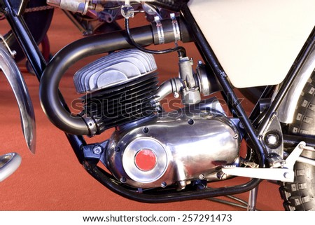 Side view of an old classic motorbike engine. Old motorbike engine. - stock photo