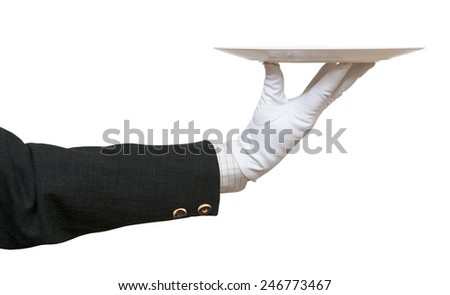 side view of arm in white glove with empty flat white plate isolated on white background - stock photo