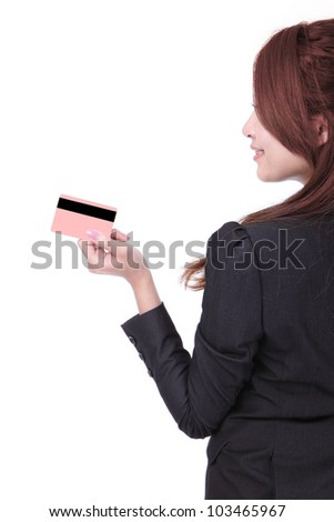 Side view of asian business woman smiling holding credit card and looking at copy space isolated on white background - stock photo