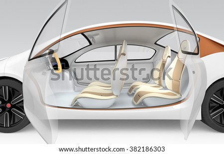 Side view of autonomous electric car. The car offer folding steering wheel, rotatable passenger seat.  - stock photo