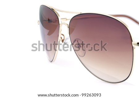 Side view of aviator woman sun glasses isolated on white background. - stock photo
