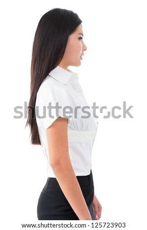 Side view of beautiful Asian young woman standing on white background - stock photo