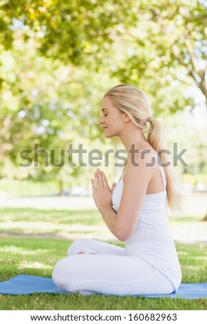 Side view of beautiful calm woman meditating sitting on an exercise mat in a park - stock photo