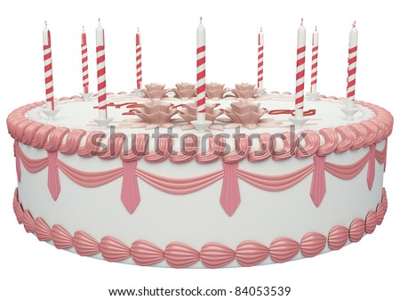 Side view of birthday cake with candles and roses with greetings words - stock photo