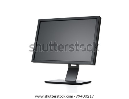 Side view of blank computer monitor isolated on white background with clipping path for the screen - stock photo