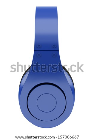 side view of blue and black wireless headphones isolated on white background - stock photo