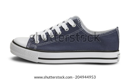 Side View of Blue Canvas Sneaker Isolated on White Background. - stock photo