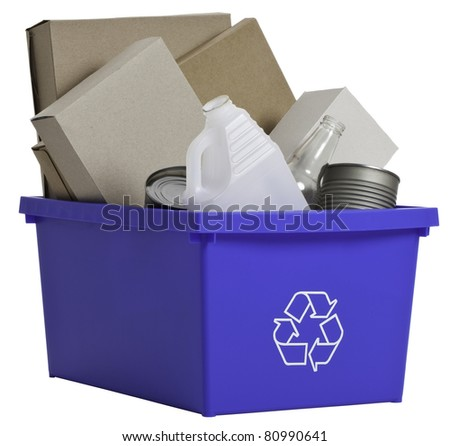 Side view of blue recycling bin isolated filled with empty plastic and glass bottles, empty cans and cardboard boxes. - stock photo