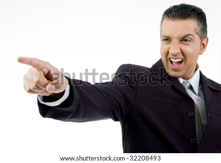 side view of boss pointing aside with white background - stock photo
