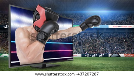 Side view of boxer hitting straight against composite image of boxing ring - stock photo