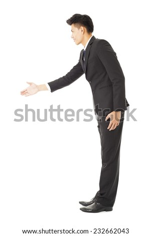 side view  of business man with handshaking - stock photo