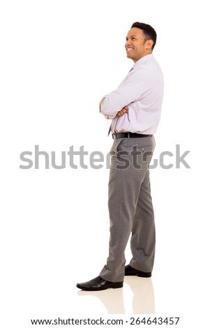 side view of businessman looking away on white background - stock photo