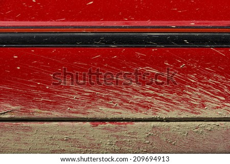 Side View of Car Door With a Mud Spray Texture - stock photo