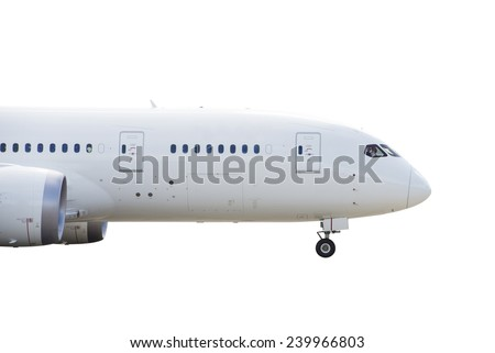 Side view of commercial airplane - stock photo