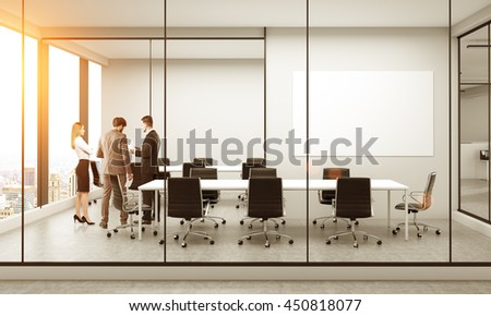 Side view of conference room interior with blank whiteboard, discussing businesspeople, furniture, city view and sunlight. Mock up, 3D Rendering - stock photo