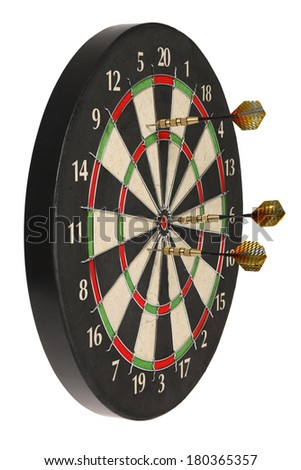 Side view of dartboard with three darts on white background - stock photo