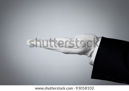 Side view of elegant human hand offering some product - stock photo